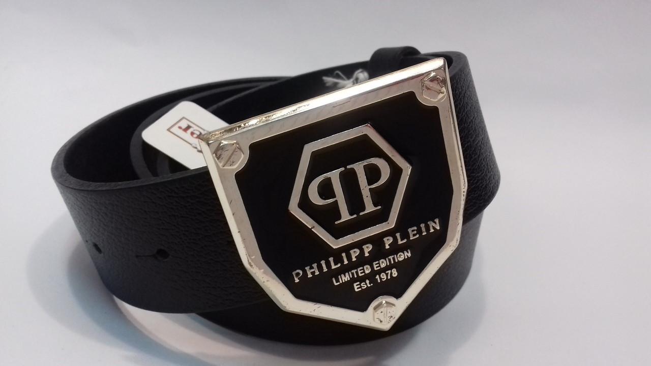 Кожаный Ремень пояс Philipp Plein gold  (реплика)
