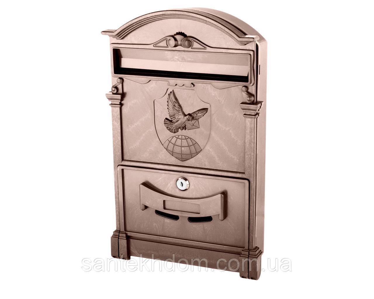 Почтовый ящик VITA цвет коричневый Герб Голубь