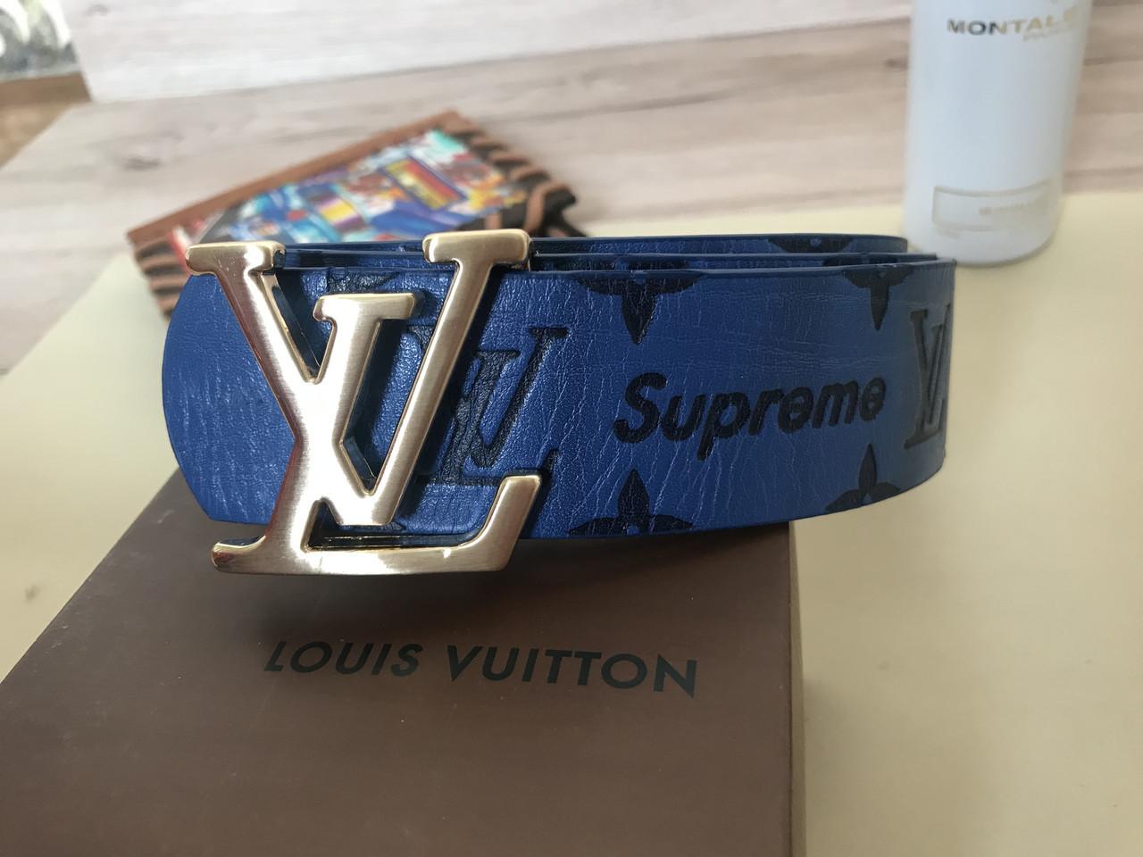 Ремень Louis Vuitton SUPREME blue2 (реплика Луи Витон)