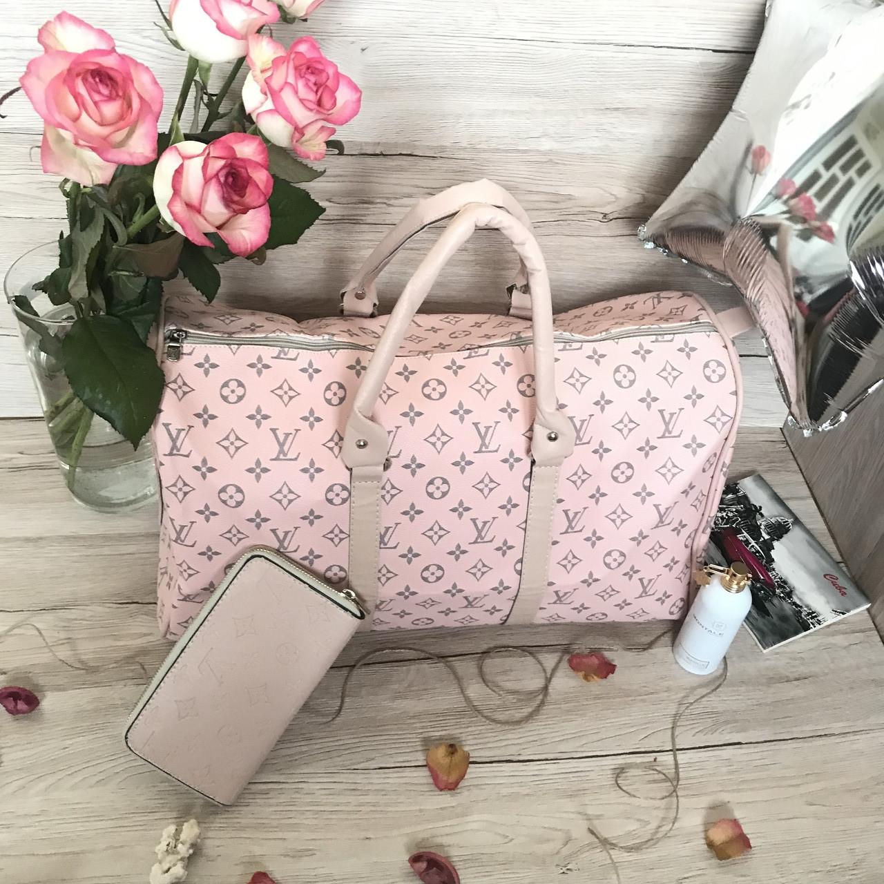 Сумка дорожная Louis Vuitton LV 50 см pink (реплика) ручная кладь