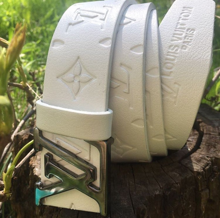 Ремень кожаный пояс Louis Vuitton White (реплика луи витон)