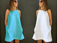 """Стильне плаття міні """"Льон"""" Angelo Style, фото 1"""