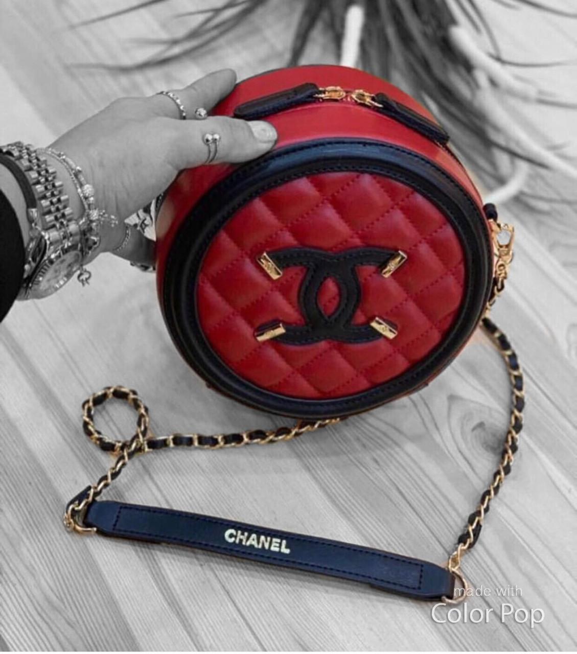 Сумка клатч круглая Chanel (реплика шанель ) red