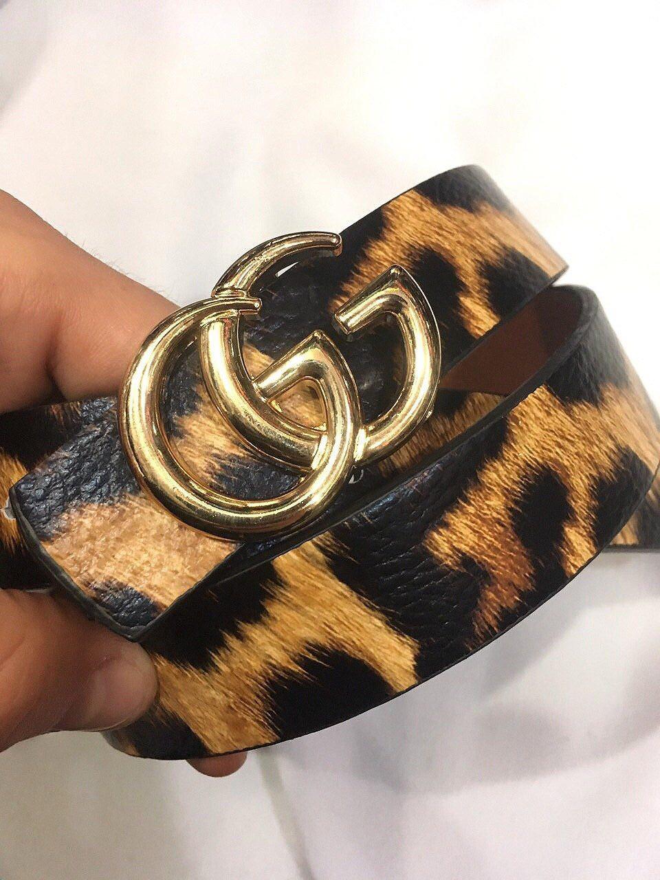Пояс Ремень Gucci двусторонний (реплика Гучи) леопардовый