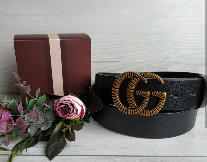 Ремень Gucci кожаный (реплика Гучи) black style