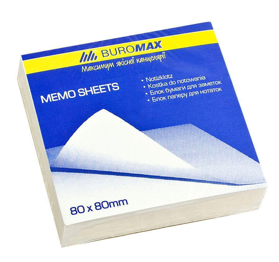 Блок бумаги для заметок Jobmax 80х80х20 мм, белый, не склеенный
