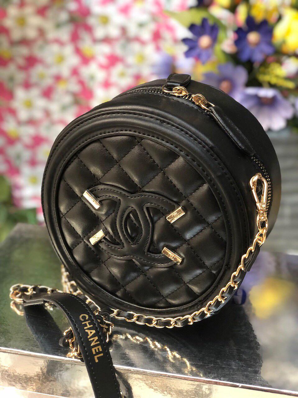 Сумка клатч круглая Chanel (реплика шанель ) black