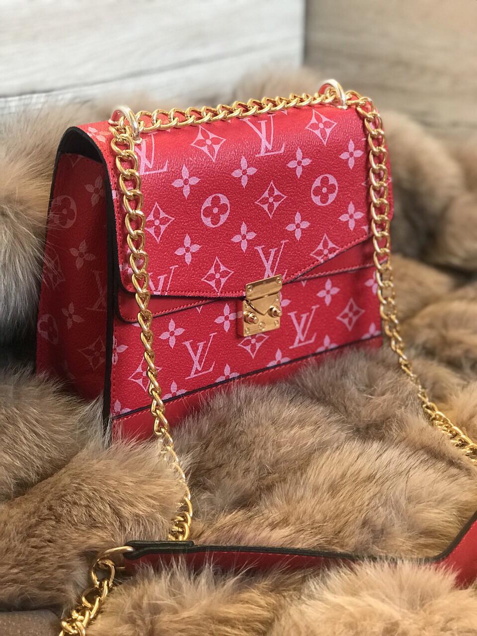 Сумка клатч на цепи Louis Vuitton LV (реплика люкс) small red