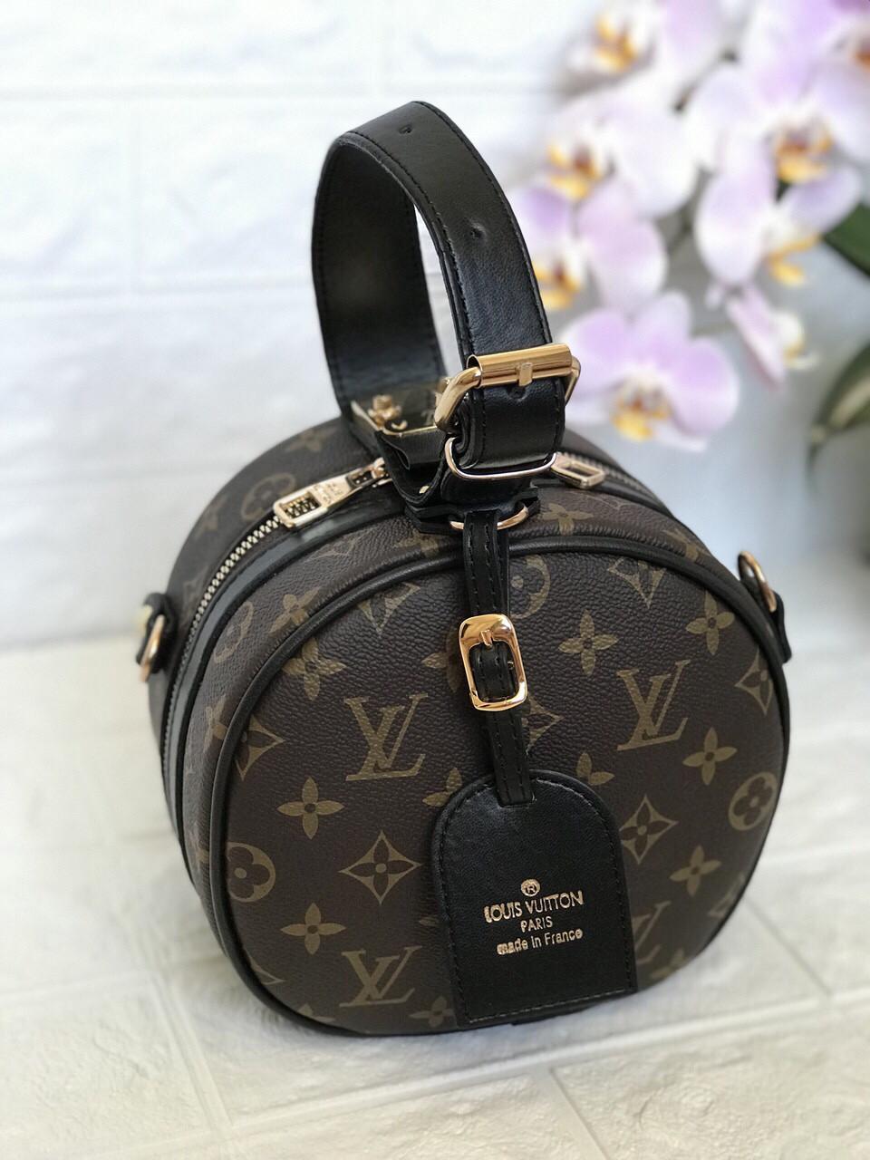 Клатч сумка круглая  в стиле Louis Vuitton LV (луи витон) brown