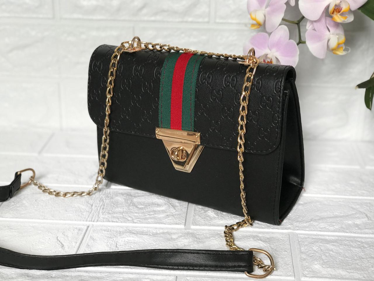 Клатч  Gucci сумка (гуччи копия ) чёрная
