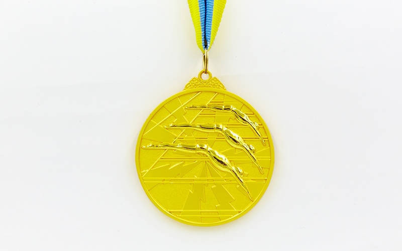 Медаль спортивная с лентой двухцветная d-6,5см Плавание C-4848 1-золото, 2-серебро, 3-бронза(металл)