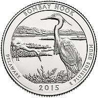 США 25 центов 2015, 29 Парк Национальное убежище дикой природы Бомбай-Хук, штат Делавэр
