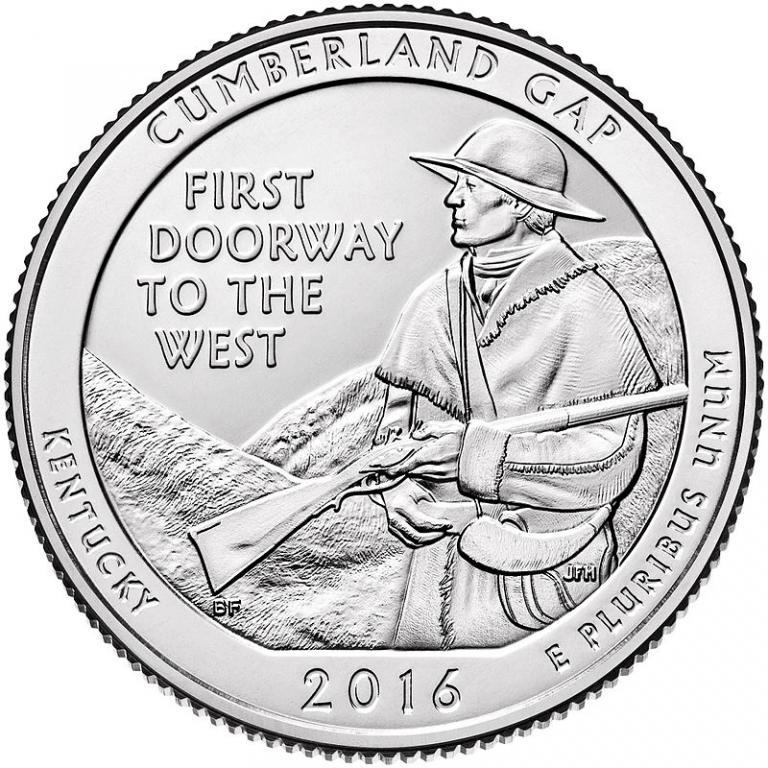 США 25 центов 2016, 32 Парк Национальный исторический парк Камберленд-Гэп, штат Кентукки