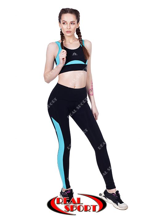 Лосины для фитнеса RSL 58, черно-бирюзовые (бифлекс, р-р S-L)
