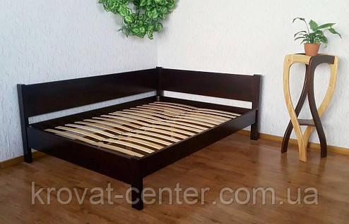 """Кутова двоспальне ліжко з масиву дерева від виробника """"Шанталь"""", фото 2"""