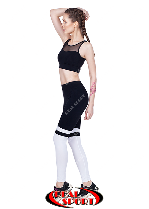 39bf0b24492ef Купить Лосины для фитнеса RSL 67, черно-белые (бифлекс, р-р S-L) от ...