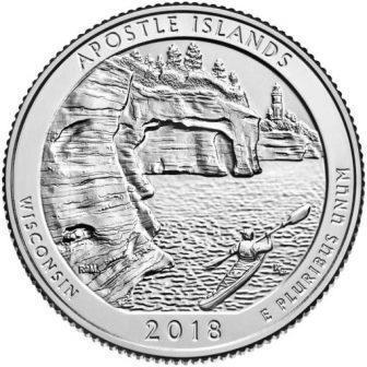 США 25 центов 2018, 42 Парк, Национальное побережье Апостл-Айлендс