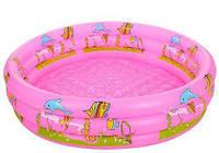 """Бассейн детский надувной """"Подводный мир"""" (D25651PINK), 3 кольца, диаметр 100 см, надувное дно"""