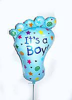 """Фольгированный нар в виде ножки для выписки из роддома """"It`s a Boy"""" надутый гелием"""