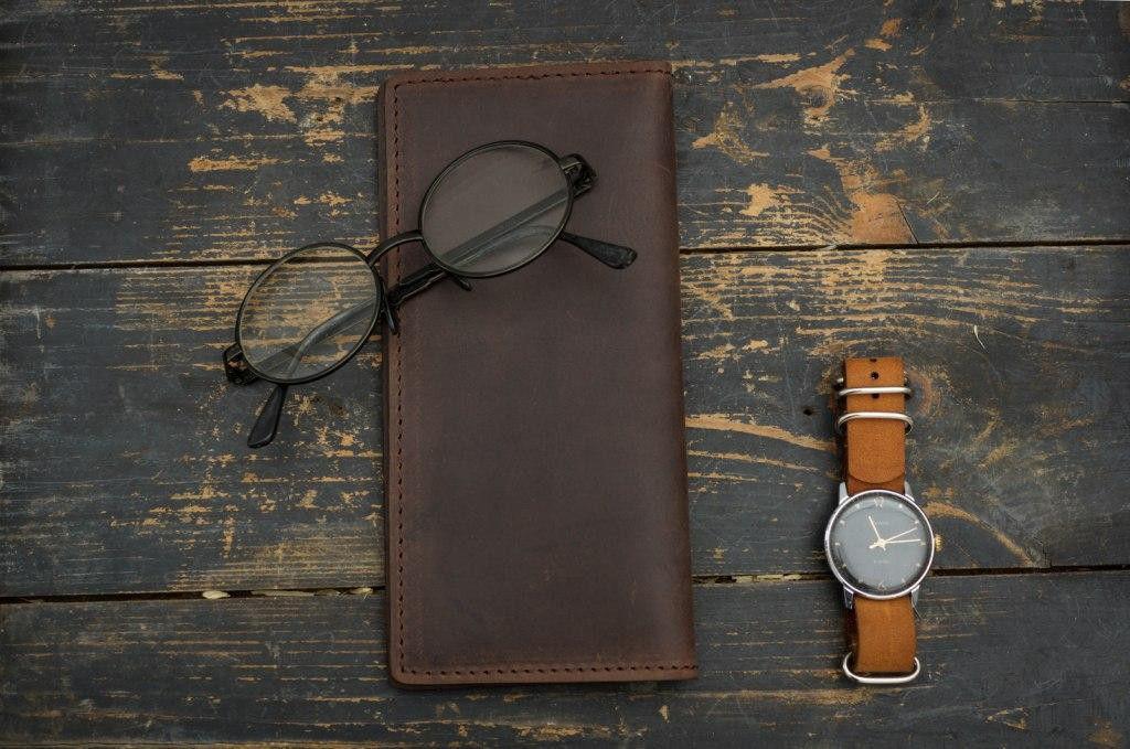 Мужское кожаное Портмоне, кошелек Financier, темно-коричневый