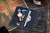Мужское кожаное Портмоне, кошелек Financier, темно-синий, фото 6