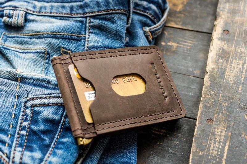 Зажим для денег купюр кожаный mod.Spot brown