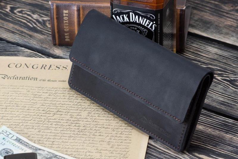 Мужское кожаное портмоне клатч Nord черный