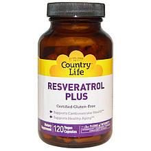 """Ресвератрол Country Life """"Resveratrol Plus"""" для сердечно-сосудистой системы, антивозрастной (120 капсул)"""