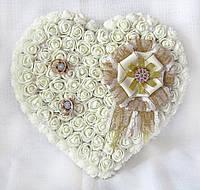 Большая свадебная подушечка для обручальных колец из роз АЙВОРИ винтаж LA BEAUTY Studio, фото 1