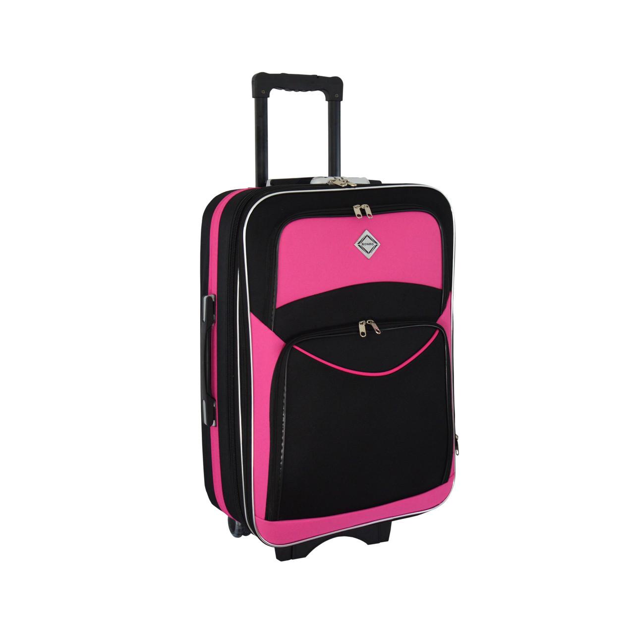 Чемодан Bonro Style (небольшой) черно-розовый