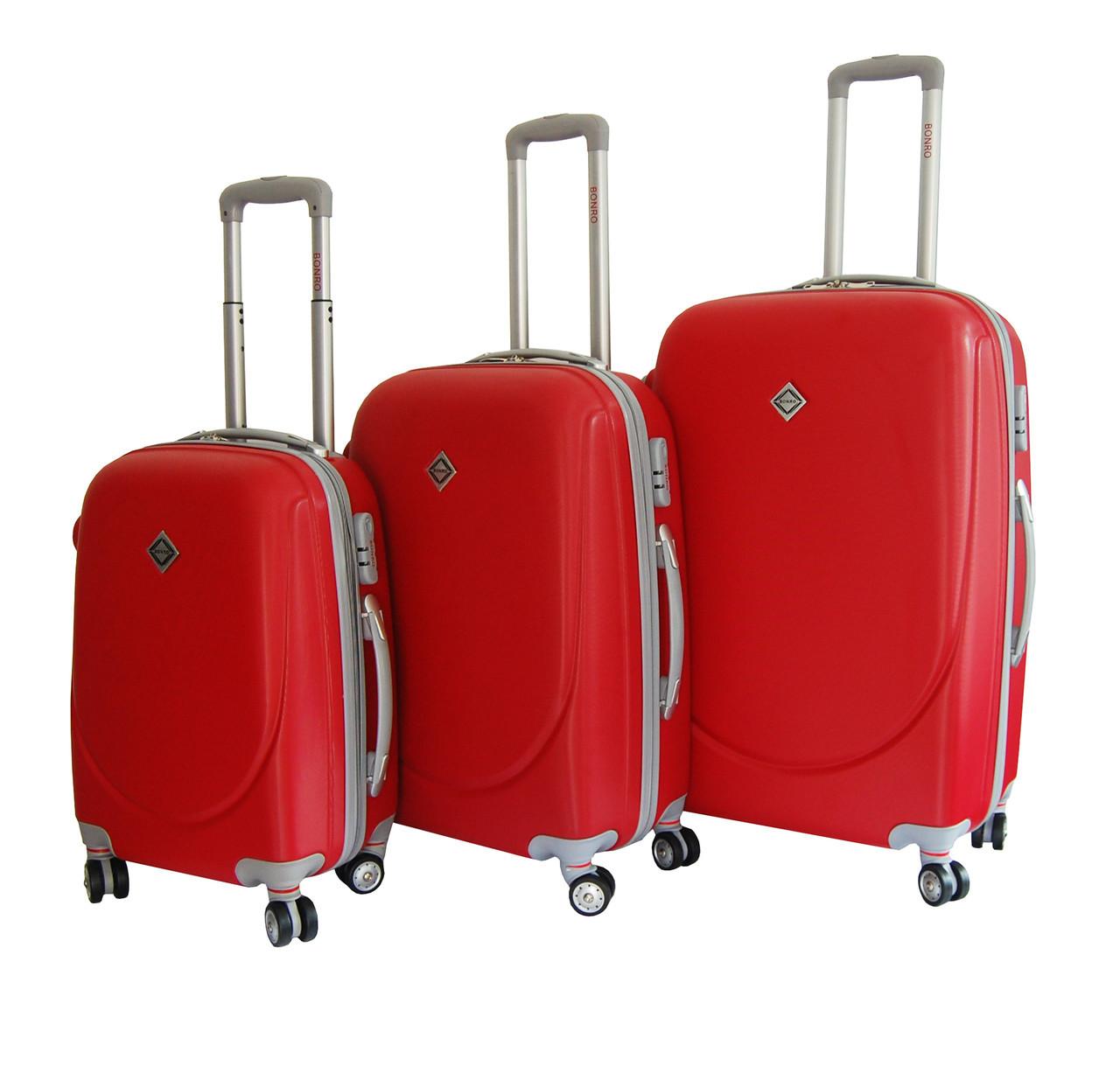 Чемодан Bonro Smile с двойными колесами набор 3 штуки красный