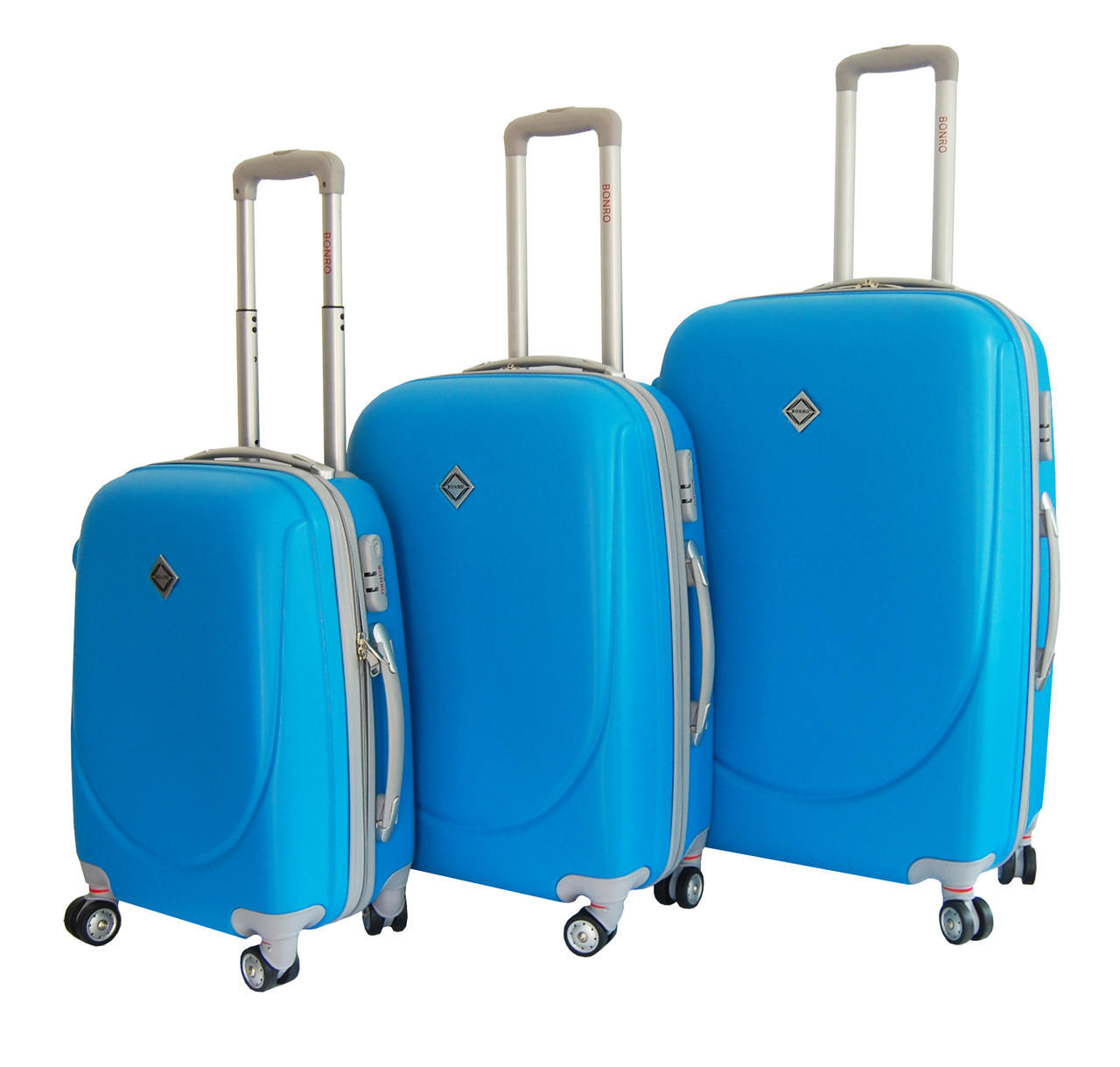 Чемодан Bonro Smile с двойными колесами набор 3 штуки голубой
