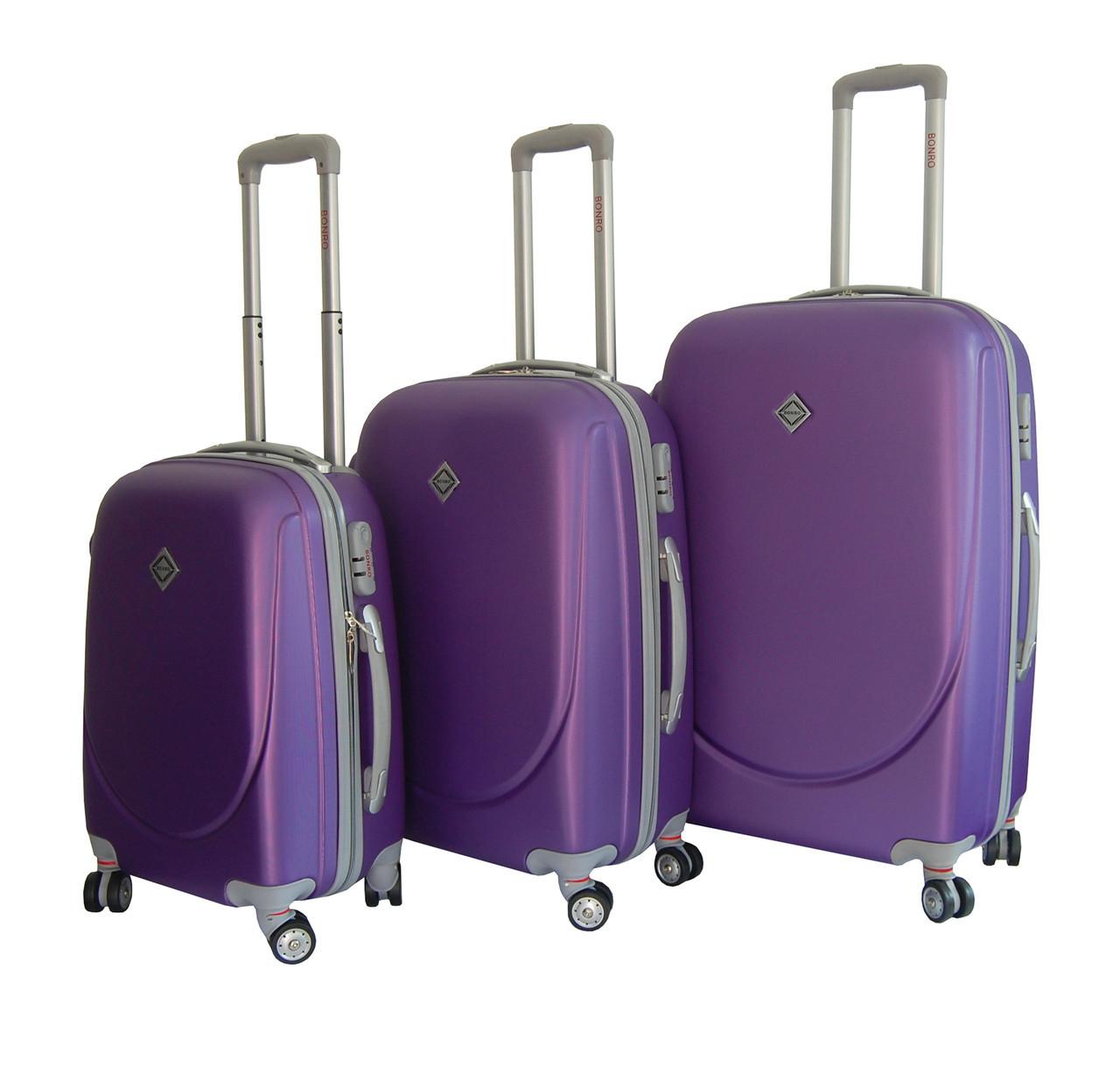 Чемодан Bonro Smile с двойными колесами набор 3 штуки фиолетовый