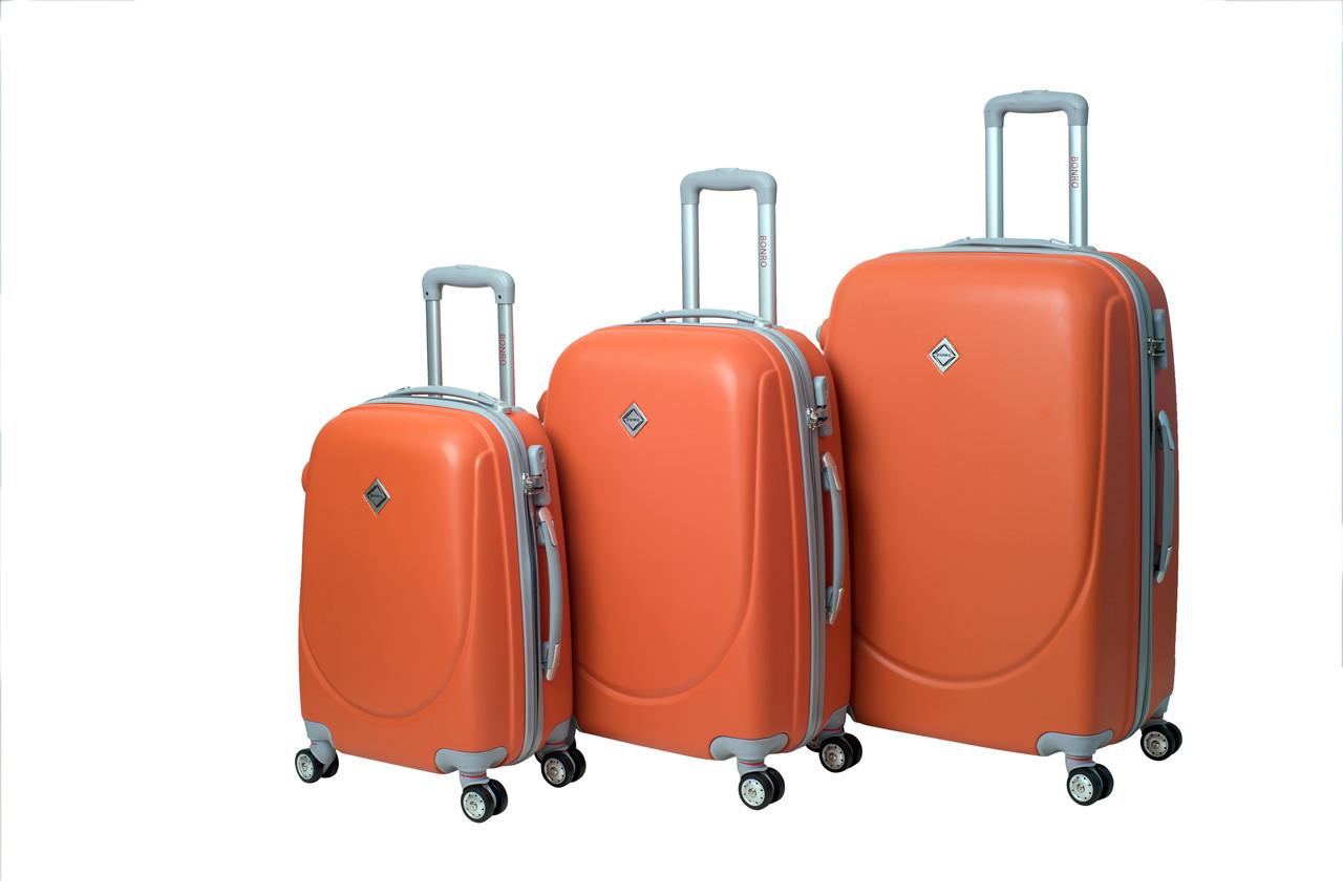 Чемодан Bonro Smile с двойными колесами набор 3 штуки оранжевый