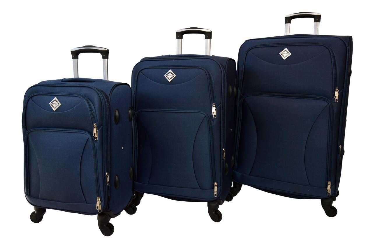 Чемодан на 4 колесах Bonro Tourist набор 3 штуки темно-синий
