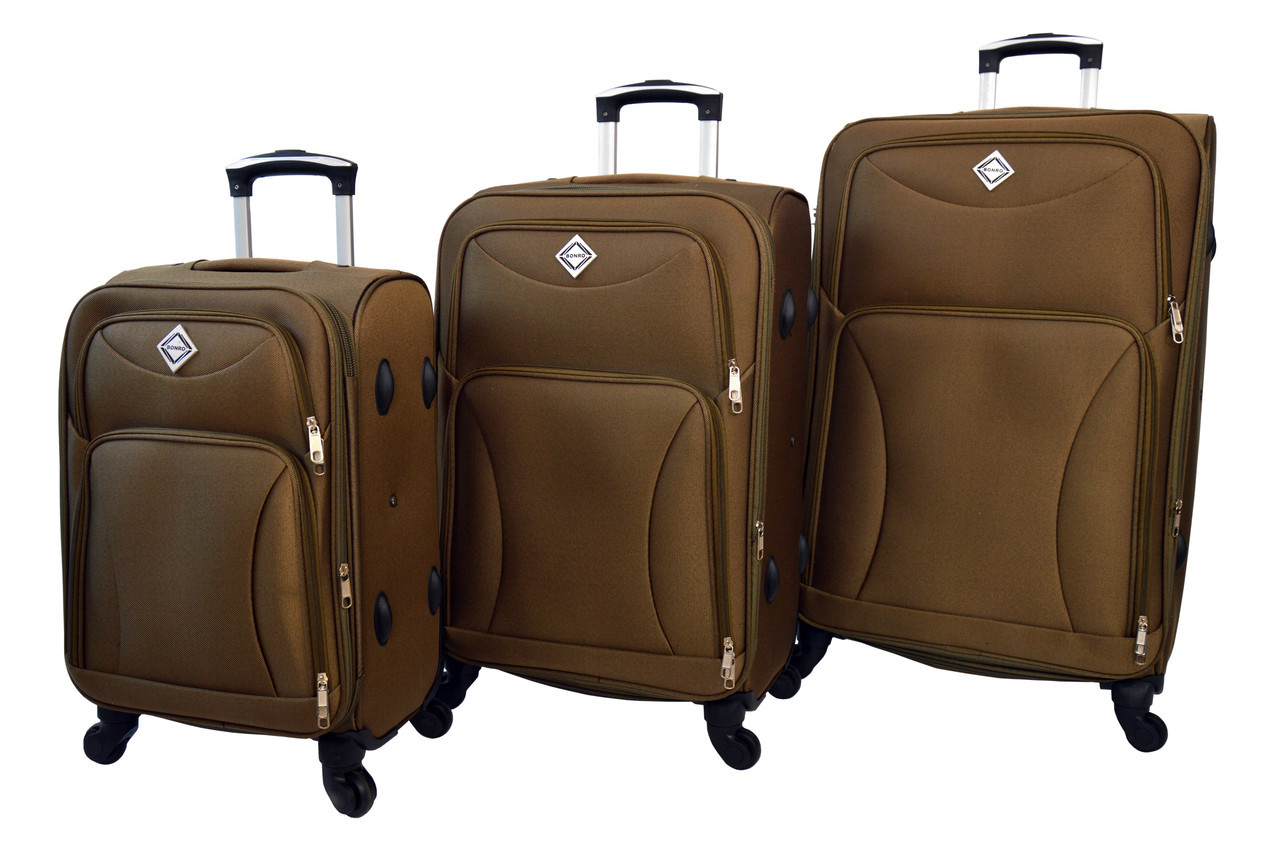 Чемодан на 4 колесах Bonro Tourist набор 3 штуки золотой