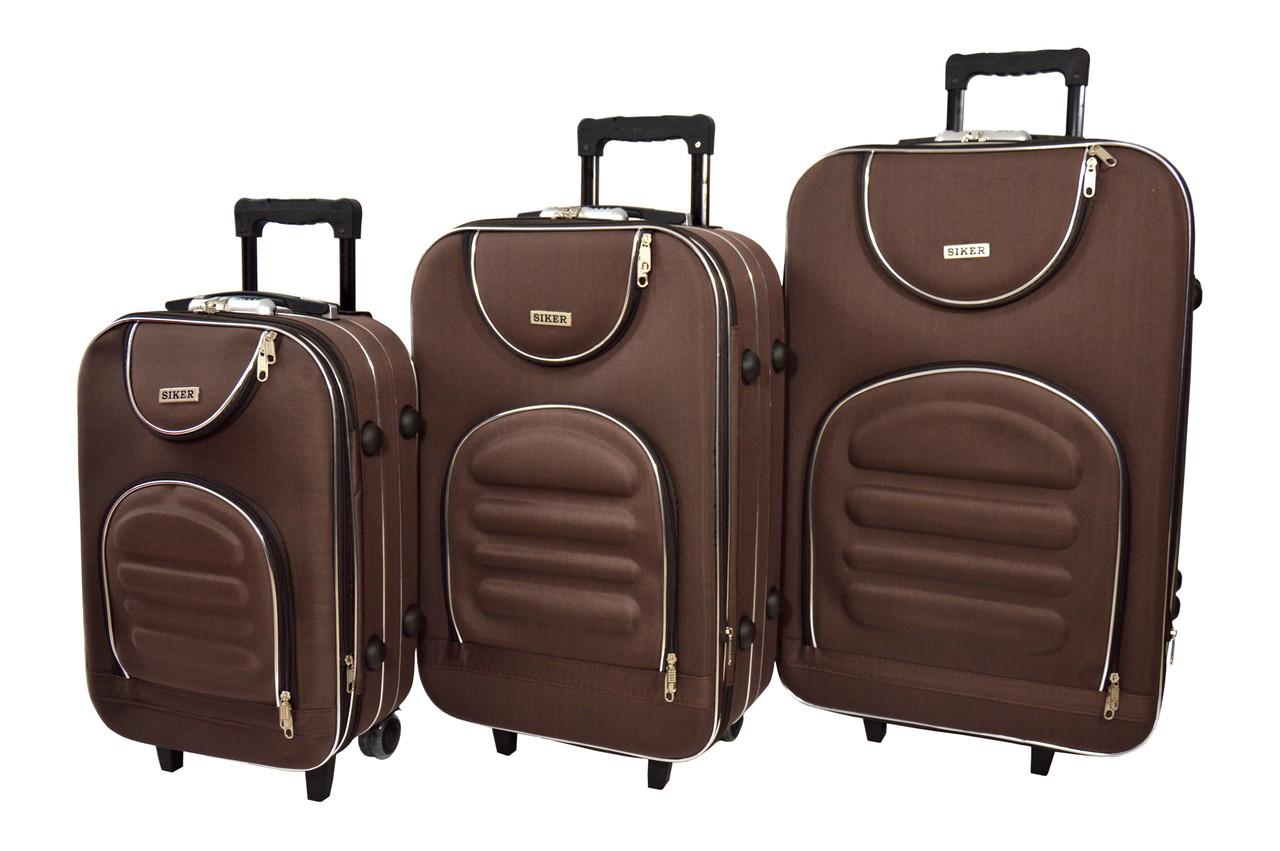 Чемодан Siker Lux набор 3 штуки коричневый