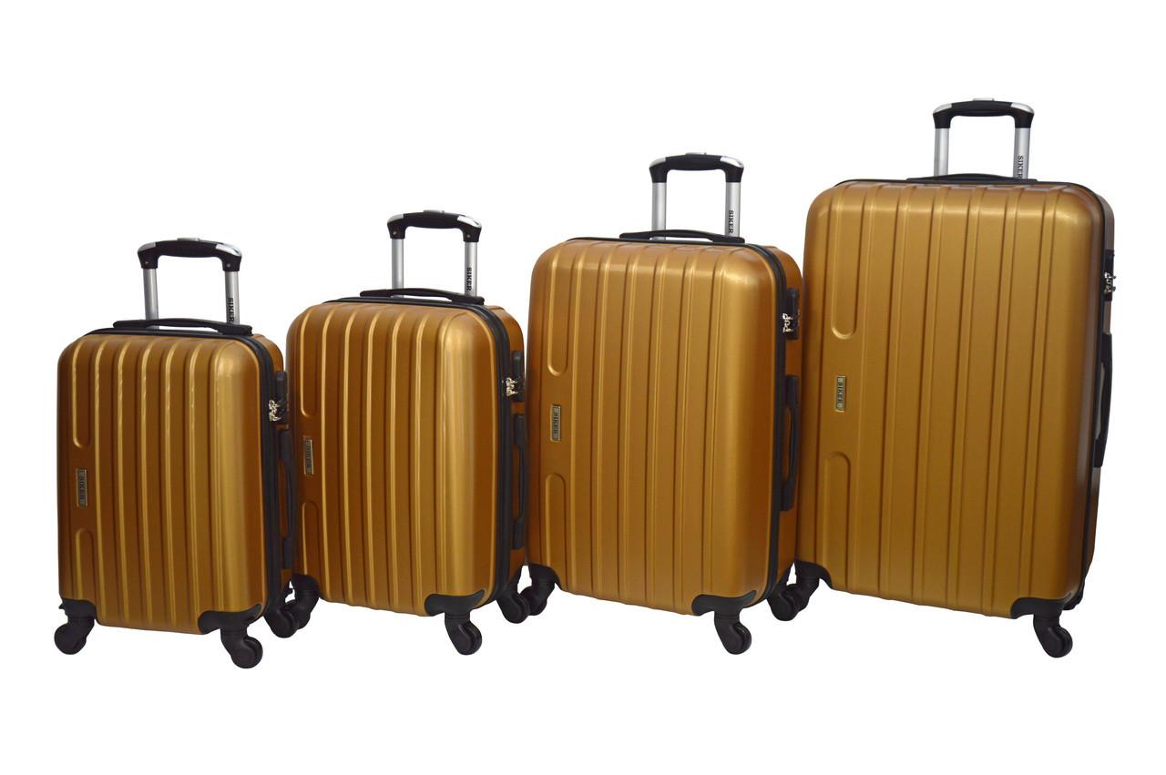 Чемодан Siker Line набор 4 штуки золотой