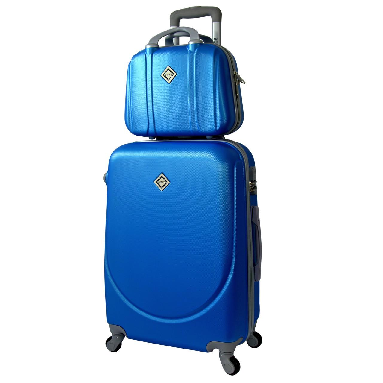 Комплект чемодан + кейс Bonro Smile (средний) светло синий