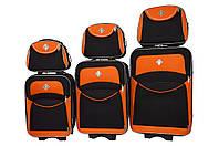 Набор чемоданов и кейсов 6в1 Bonro Style черно-оранжевый