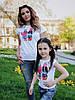 """Детская летняя футболка для девочки с красивой аппликацией спереди, серия """"мама и дочка"""", фото 4"""