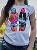 """Детская летняя футболка для девочки с красивой аппликацией спереди, серия """"мама и дочка"""", фото 2"""