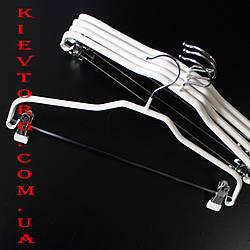 Вешалки плечики металлические с прищепками в силиконовом покрытии костюмные белые, 41 см