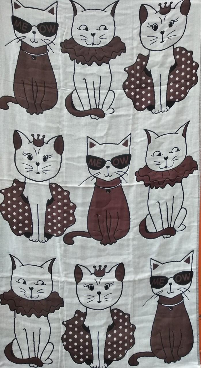 Льняное банное полотенце с принтом котики. Размер:1,4 x 0,7