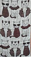 Льняное банное полотенце с принтом котики. Размер:1,4 x 0,7, фото 1