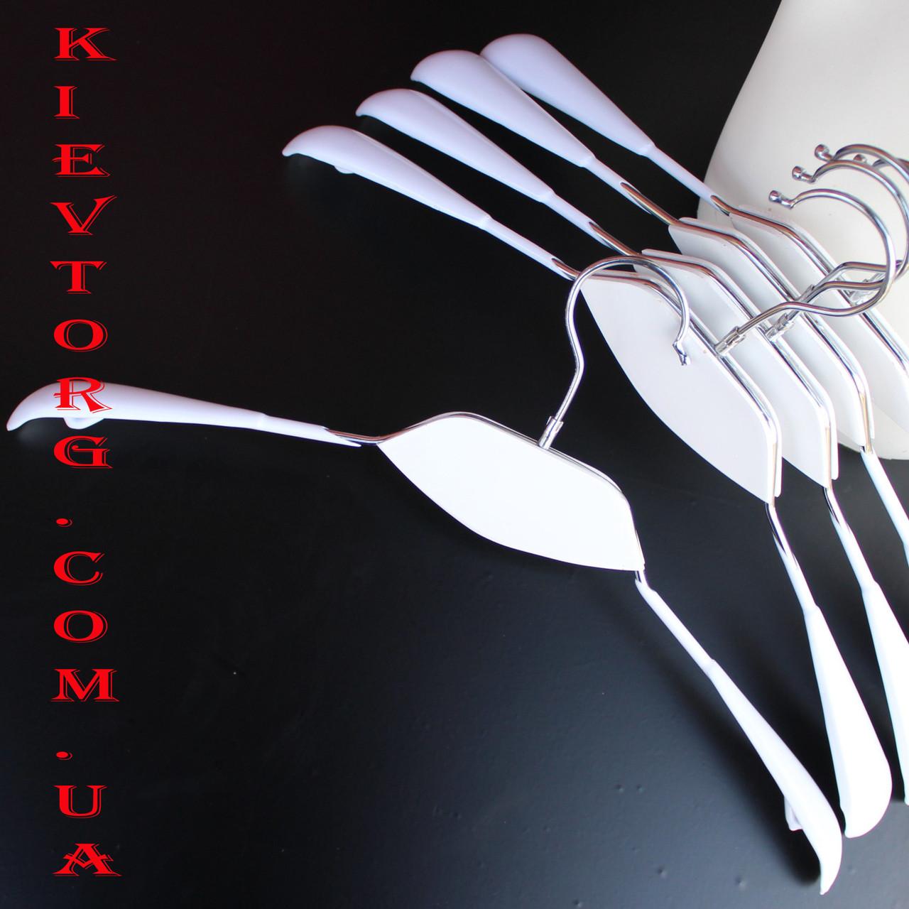 Плечики вешалки металлические с силиконовым покрытием с белой деревянной вставкой, 42 см