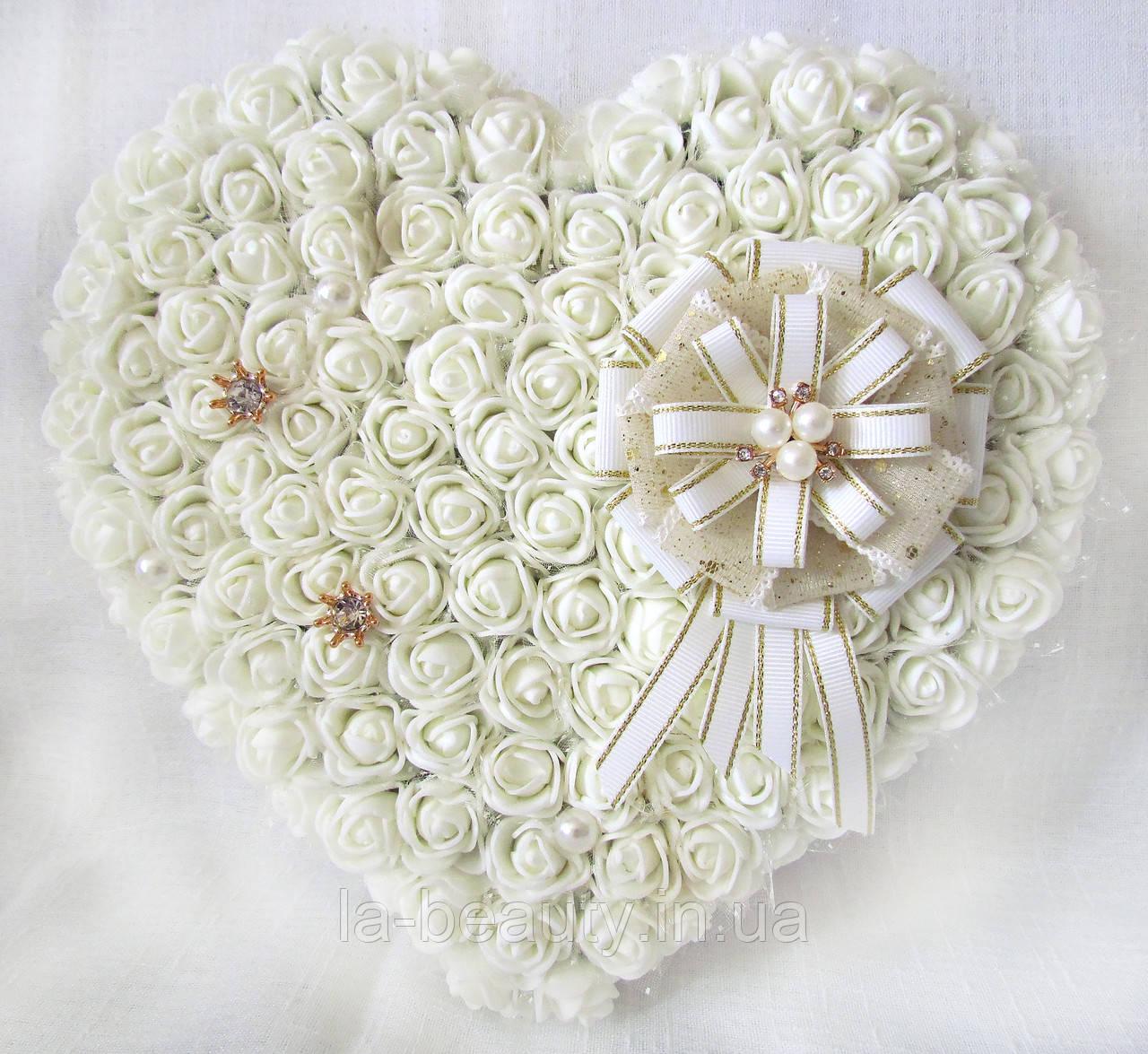 Большая свадебная подушечка для обручальных колец из роз АЙВОРИ LA BEAUTY Studio