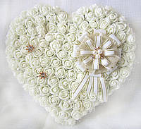 Большая свадебная подушечка для обручальных колец из роз АЙВОРИ LA BEAUTY Studio, фото 1