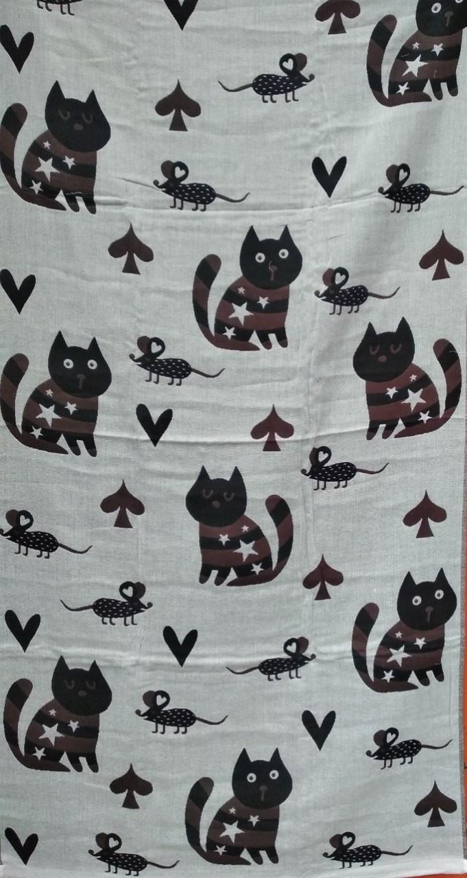 """Льняное банное полотенце с принтом """"коты-мыши"""" . Размер:1,4 x 0,7"""