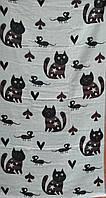 """Льняное банное полотенце с принтом """"коты-мыши"""" . Размер:1,4 x 0,7, фото 1"""
